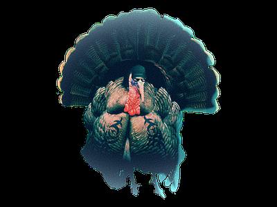 Gangster Turkey thanksgiving design illustration