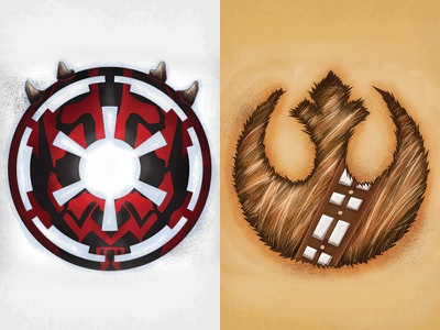 Star Wars Logos rebel alliance galactic empire chewbacca darth maul design illustration star wars