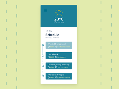 Daily UI #079 - Itinerary timetable conference schedule itinerary 079 dailyui