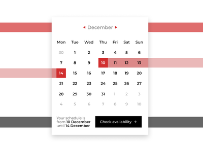 Daily UI #080 - Date Picker organize calendar cta availability date picker 080 dailyui