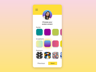 Daily UI #088 - Avatar dailyuichallenge profile steps screens customization personalization customize gradient avatar 088 dailyui