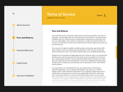 Daily UI #089 - Terms of Service flat section navigation orange terms of service terms and conditions dailyuichallenge dailyui