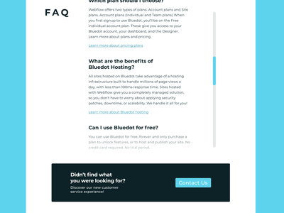 Daily UI #092 - FAQ contact us frequently asked questions white blue dailyuichallenge dailyui