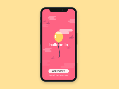 Daily UI #093 - Splash Image ios mockup register community joyful playful birds clouds pink splash image 093 dailyuichallenge dailyui