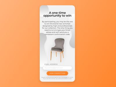 Daily UI #097 - Giveaway furniture reward competition subscribe email giveaway 096 dailyuichallenge dailyui