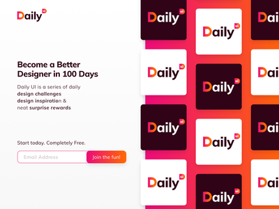 Daily UI #100 - Redesign Daily UI Landing Page logo grid logo copywriting register form landing page 100 dailyuichallenge dailyui