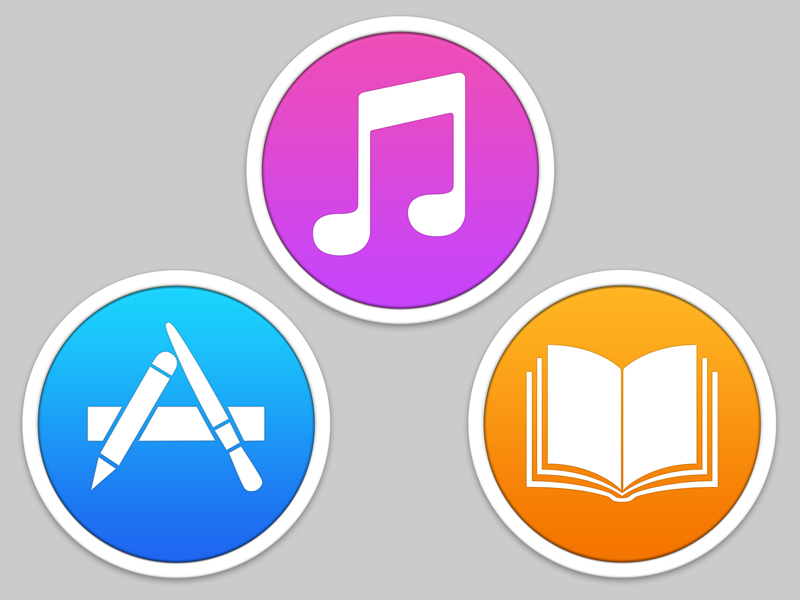 iTunes + App Store + iBooks icons on Mac OS by Ludovic