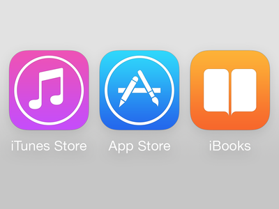 iTunes + App Store + iBooks icons on iOS