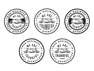 Oh So Thankful stamp badge hands handshake thankful