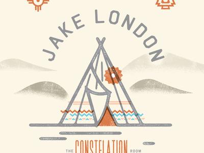 Jake London Gig Poster teepee poster concert gig show native southwestern
