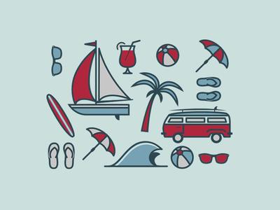 Beach Icons sail boat sandals ball van beach glasses wave icons vw bus umbrella