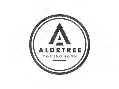 ALDRTREE: Coming Soon logo typography type distressed vintage tree icon ben suarez aldertree badge aldrtree suarez