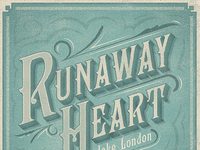 Runaway Heart: CD Cover typography logo identity branding cd cover texture hand letter noise grain cd cd package runaway heart motif flourish retro