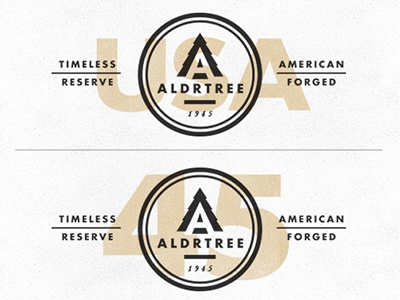 ALDRTREE: Logo Overlay american badge icon tree aldrtree suarez circle retro vintage timeless reserve black and white forged typography overlay