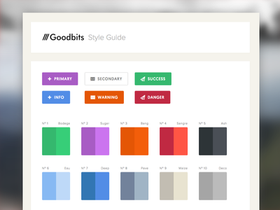 Goodbits -- Initial Styleguide type cream white clean flat interface ui swatch palette colour button