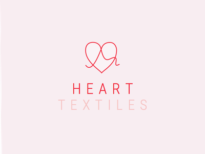 Heart Textiles Logo red pink hearts logo typography branding vector