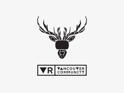 Vancouver VR Community Branding attitude polygons white black headset hmd stag deer vancouver vr