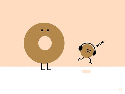 Dancing Munchkin headphones music donut day donut doughnut pink shape geometric vector simple minimal illustration