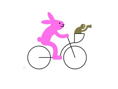 World Kindness Day friend kindness teamwork help bicycle turtle rabbit hare shape geometric vector simple minimal illustration