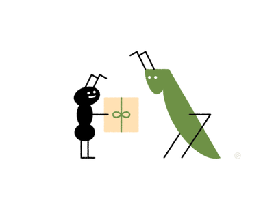 World Kindness Day kindness friend compassion love help grasshopper ant shape geometric vector simple minimal illustration