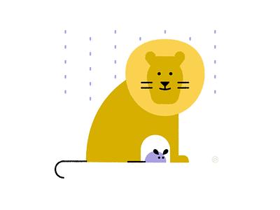 World Kindness Day caring friend love kind rain mouse lion yellow shape geometric vector simple minimal illustration
