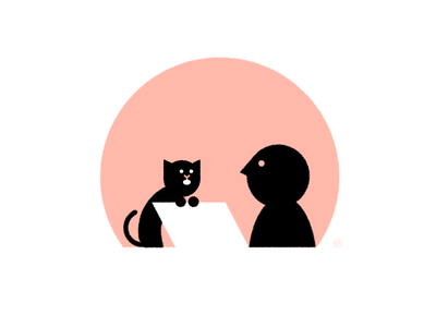 "When My Cat Says ""I'm Speaking"" black cat accent shape geometric vector simple minimal illustration"