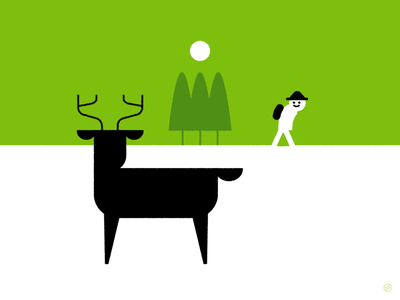 National Take a Hike Day landscape encounter trees nature hiking hike outdoors deer green black accent shape geometric vector simple minimal illustration