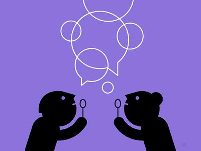 Better Conversations Week listening conversation dialogue conceptual black accent shape geometric vector simple minimal illustration