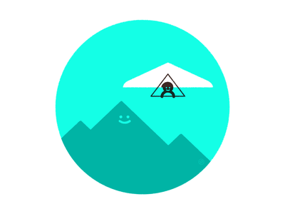 Soar outdoors sky mountains shape geometric vector simple minimal illustration