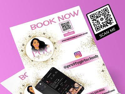 Flyer 9 logo design vector makeup artist branding illustration glitter beauty salon flyer design flyer design