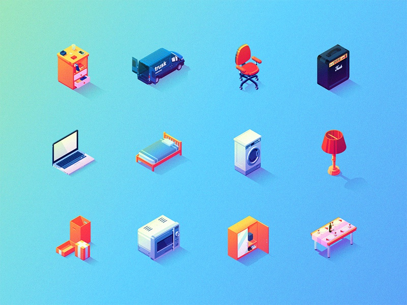 Itsy-Bitsy Illustrative Isometric Icons vector isometric ux ui icons illustration