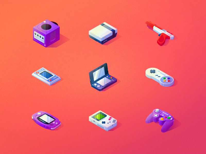 Nintendo Ode mario gameboy isometric illustration gaming ux ui icons vector nintendo