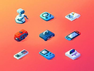 Nintendo Knick-Knacks ux ui vector isometric icons gaming nintendo