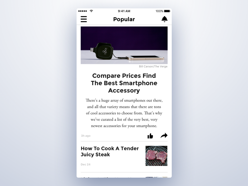 Week #4 (23) — PopularNews typography list view minimalistic light theme news app iphone flat simple mass media ios app
