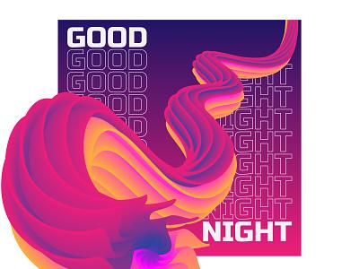 Good Night typography minimal illustration design