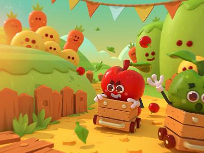 apple run! interface background characterdesign gameart 3dart videogame mobilegame