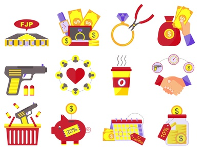 Set of vector flat icons illustrations for pawn shops minimal vector pawnshop ломбард flat  design design icons flat illustration illustration