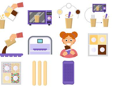 Icon illustrations. Make the chocolate yourself. games kids chocolate bar flatvector icons flat illustration flat  design
