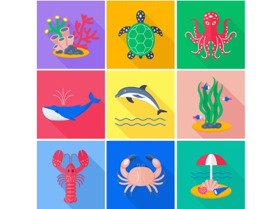 A set of flat vector icons. Sea life. vector illustration adobe illustrator icon set flat illustration flat vector icons