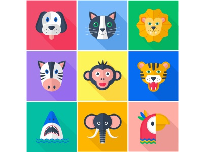 A set of flat vector icons. Animals. adobe illustrator icon set flat vector illustration flat animals vector animals