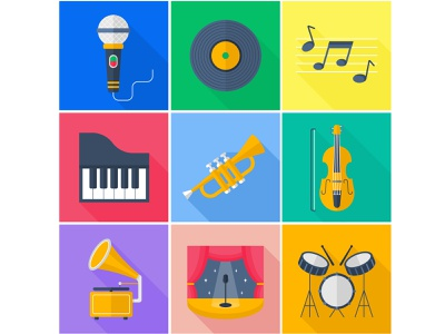 A set of flat vector icons. Music. music vector icons vector illustration adobe illustrator flat illustration flat vector icons