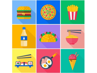 A set of flat vector icons. Food and Drinks. icons vector flat drink food