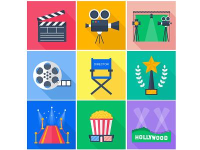 A set of flat vector icons. Film. cinema adobe illustrator flat vector icons