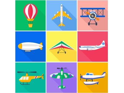 A set of flat vector icons. Air transport. flat illustration vector illustration adobe illustrator flat vector icons