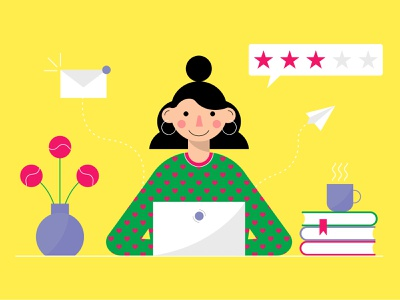 The girl is working on a laptop. Flat vector style. icons illustrator dribble invite dribbble invite giveaway flat girl flat  design flat vector vector art custom illustration illustration for apps illustration for web flatvector flat illustration vector illustration adobe illustrator flat