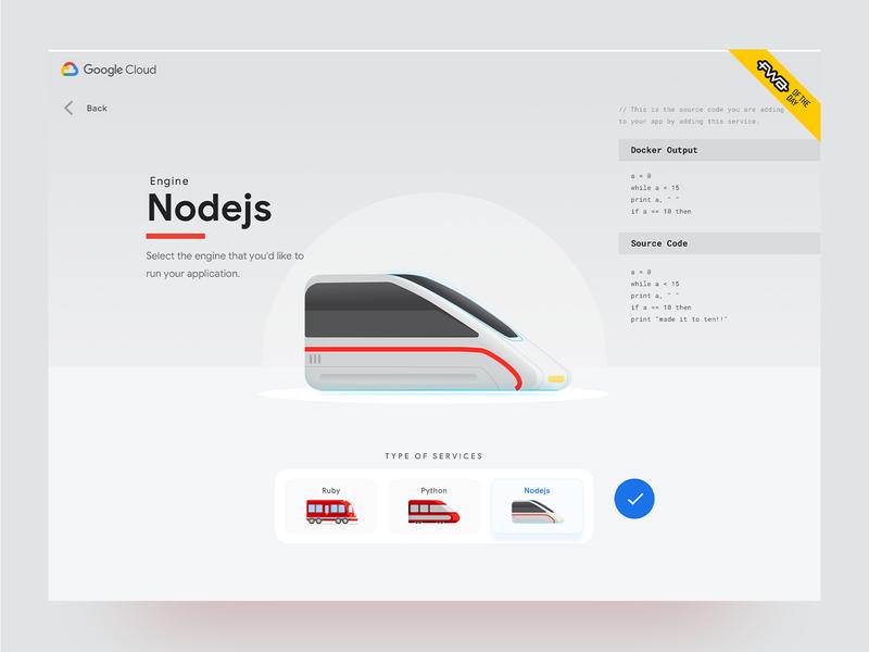 Life of Your Code (Google Cloud) - Select an engine section nodejs engines code trains motion graphic illustrations ux design ui design google cloud websites web design
