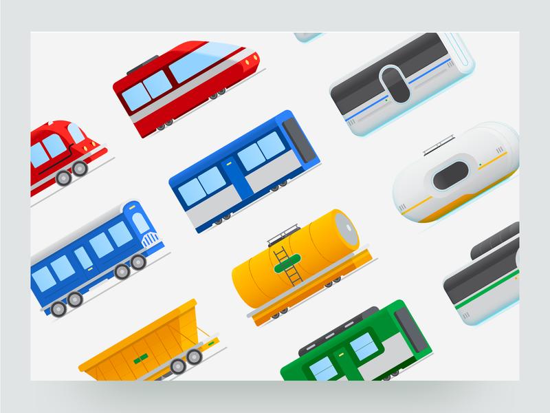 Life of Your Code (Google Cloud) - Train Cart Illustrations train carts engines code trains motion graphic illustrations ux design ui design google cloud websites web design