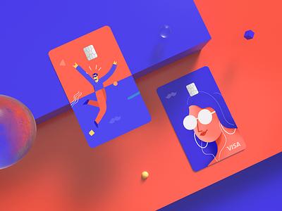 Rappi Pay Credit Card Design faces 2d branding design payment method man woman card design rappi credit card rappi pay rappi payment app payments credit card design credit cards creditcard