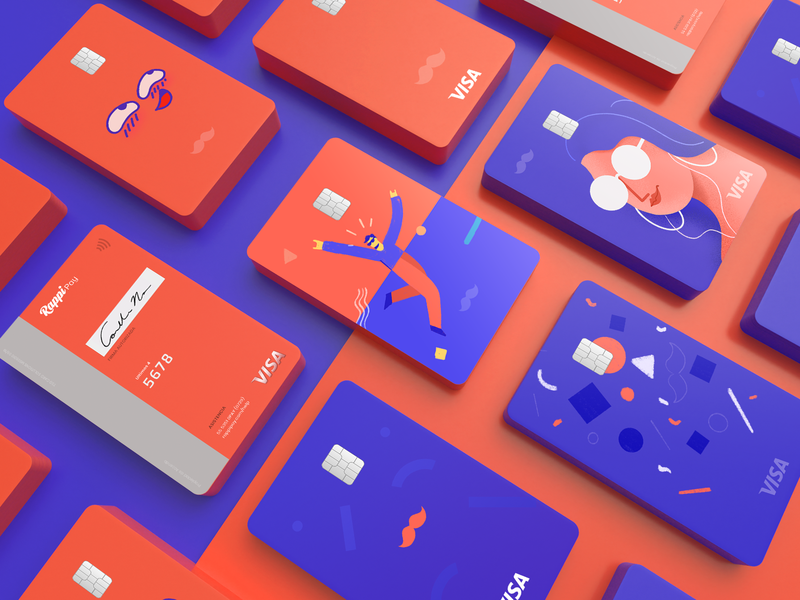 Rappi Pay Credit Card Design 2d faces shapes branding design payment method man woman card design rappi credict card rappi pay rappi payment app payments credit card design credit cards credit card