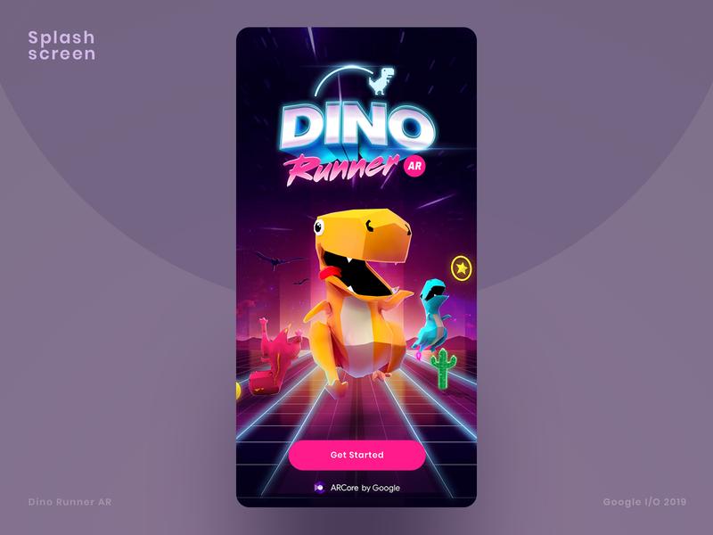 Dino Runner AR Core by Google player gaming runner ar core character design games game design augmented reality dino run dinosaurs dino
